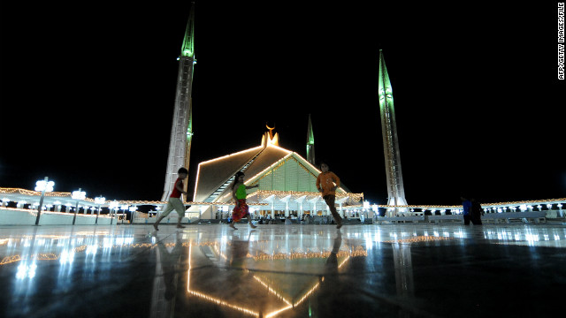 But today, Alam says, Obama has disappointed, and Pakistan remains politically corrupt and without hope. Here, Pakistani children play outside the grand Faisal Mosque in Islamabad.