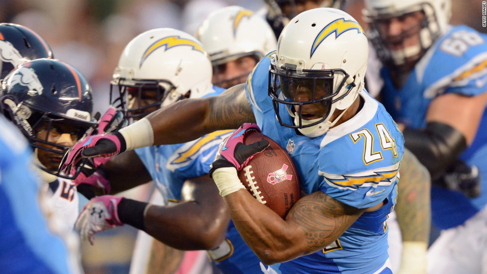 Ryan Mathews of the San Diego Chargers runs the ball against the Denver Broncos on Monday, October 15, at Qualcomm Stadium in San Diego. Check out the action from Week Six of the NFL, or <strong><a href='http://www.cnn.com/2012/10/04/football/gallery/nfl-week-5/index.html'>look back at the best from Week Five</a></strong>.