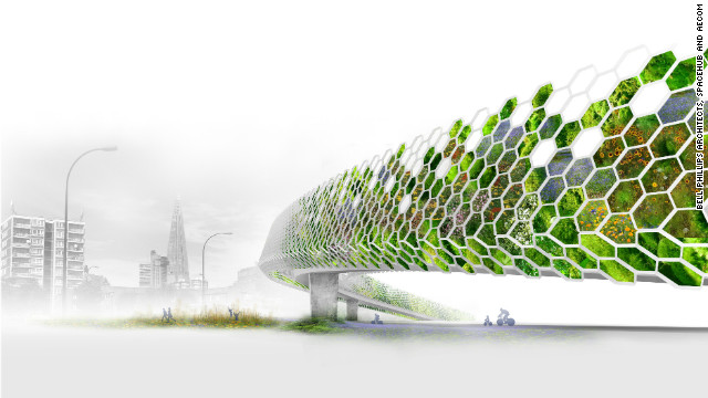 "Transforming London's many flyovers into ""green arteries"" would not only improve the look of some of some eyesores but also reduce traffic noise and encourage biodiveristy, according to Bell Phillips, Spacehub and Aecom."