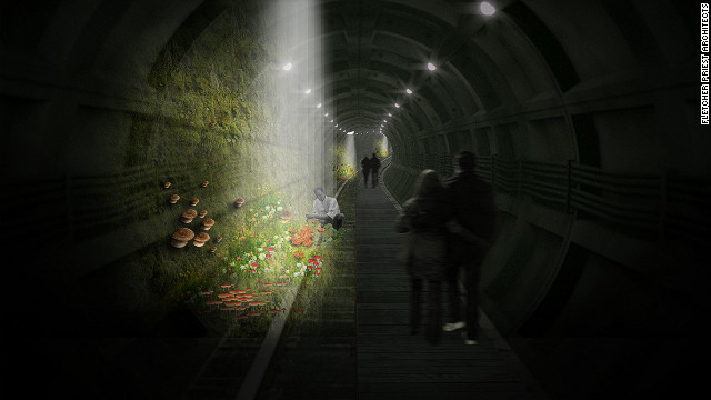 An idea to create a mushroom garden in a disused rail tunnel beneath London's Oxford Street has won a competition inspired by New York's High Line -- the elevated park which utilizes old railroad line to create green public spaces. The vision for a mushroom farm combined with a pedestrian walkway came out on top of 170 entries proposing new green spaces for the UK capital.
