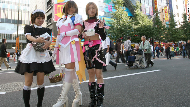 Maid costumes and other fantasy-infused outfits are mixed with electronics in Tokyo's Akihabara area.