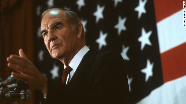 Former Sen. George McGovern, 90, died on October 21. McGovern was the Democratic nominee for president in 1972. He ran against incumbent Richard Nixon and won only 17 electoral votes to Nixon's 520. He served in the U.S. Senate and House representing South Dakota before his loss for the top office.