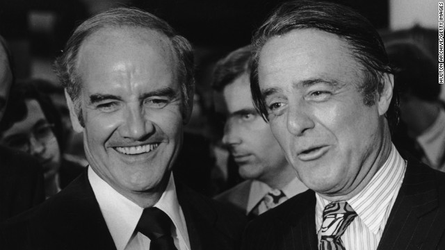 McGovern, left, chose Sargent Shriver as his running mate to replace Eagleton in August 1972.