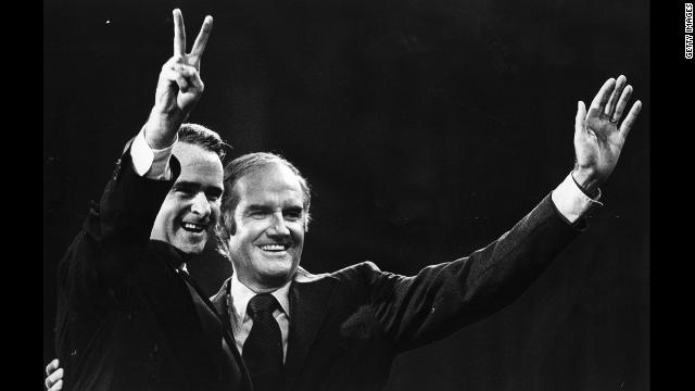 McGovern, the Democratic presidential nominee, right, and his first running mate, Sen. Thomas Eagleton, campaign in 1972. Eagleton withdrew from the ticket after it came to light that he had received electric shock treatment for bouts of mental illness.