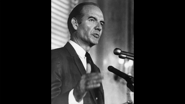 Sen. George McGovern campaigns for the Democratic presidential nomination in August 1968. Vice President Hubert Humphrey beat McGovern for the party's nomination that year and lost in the general election to Richard Nixon.