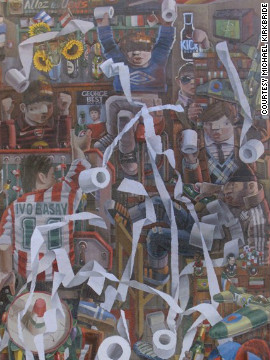 "The British artist is perhaps best known for his paintings of English football scenes, including ""Bar Kick,"" a surrealist look at sporting revelry in a pub."