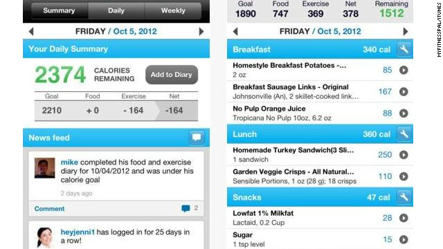 <a href='http://myfitnesspal.com' target='_blank'>Calorie Counter & Diet Tracker</a>: (free, myfitnesspal.com) MyFitnessPal has a database with more than 2 million foods, and touts its fast and easy exercise and diet entry, allowing users to keep track of calorie burning and calorie intake on the go. (iPhone, iPod Touch, iPad, Android, BlackBerry, Windows)