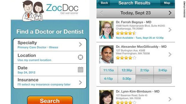 <a href='http://zocdoc.com' target='_blank'>ZocDoc</a>: (free, zocdoc.com) ZocDoc's pitch is simple: letting users book doctor appointments quickly. Just enter your zip code and insurance information, click through available doctors and book. (iPhone, iPod Touch, iPad, Android)