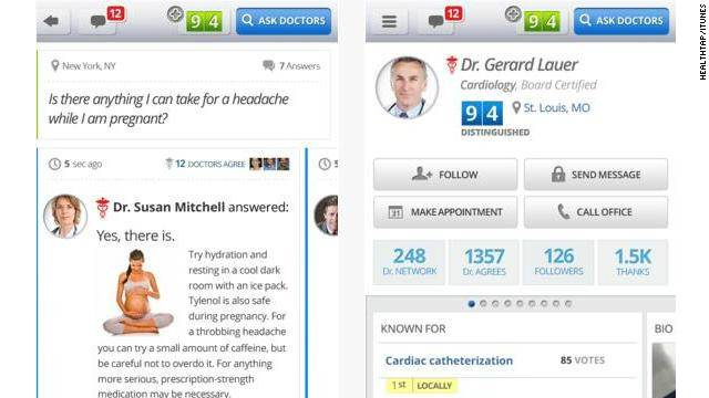 <a href='http://healthtap.com' target='_blank'>HealthTap</a>: (free, healthtap.com) HealthTap is a mobile health care Q&A station. Users can write and submit their own questions and then get an answer from a real-life doctor -- who is required to show proof of a valid medical license to register. (iPhone, iPod Touch, iPhone, Android)