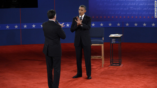 Republican presidential nominee Mitt Romney and President Obama go head to head.