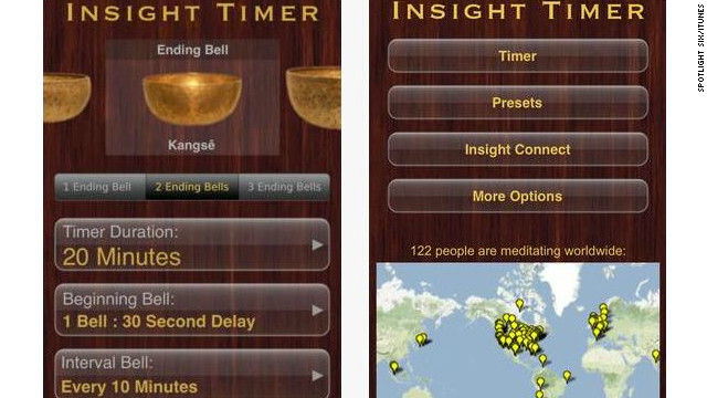 "<a href='http://spotlightsix.com' target='_blank'>Insight Timer</a>: ($1.99, spotlightsix.com) With the sounds of Tibetan singing bowls as background noise, Insight Timer allows users to track their meditations, is customizable to individual mediatation routines and rewards achievement with insight ""milestones."" (iPhone, iPod Touch, iPad)"