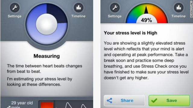<a href='http://azumio.com' target='_blank'>Stress Check</a>: (free, $1.99 upgrade: azumio.com) This app is both educational and diagnostic. it uses a one-step process -- place an index finger on the camera lens of your phone -- and then measures your stress level while supplying stress tips and tricks. (iPhone, iPod Touch, Android)
