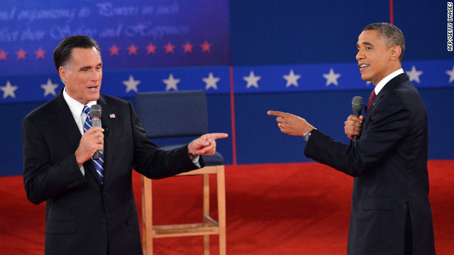 President Obama and Republican presidential nominee Romney point the finger at each other.