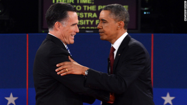 Republican presidential candidate Mitt Romney and U.S. President Barack Obama shake hands following the 2d presidential debate at Hofstra University in Hempstead, NY, on Tuesday, Oct. 16, moderated by CNN's Candy Crowley
