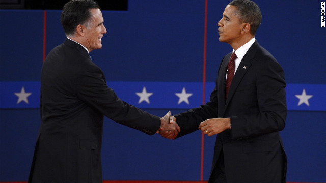 Mitt Romney, left, and President Obama shake hands following Tuesday's debate in Hempstead, New York.
