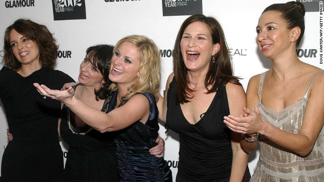 "The women of ""Saturday Night Live"" -- Tina Fey (from left), Rachel Dratch, Amy Poehler, Ana Gasteyer and Maya Rudolph -- were honored at a 2002 event in New York City."