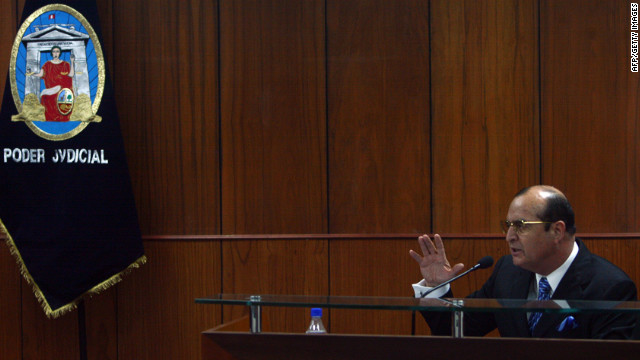 Vladimiro Montesinos, pictured here in 2008, at the trial against former Peruvian President Fujimori for charges of human rights violations. Montesinos has been acquitted of murder charges from a 1997 hostage rescue.