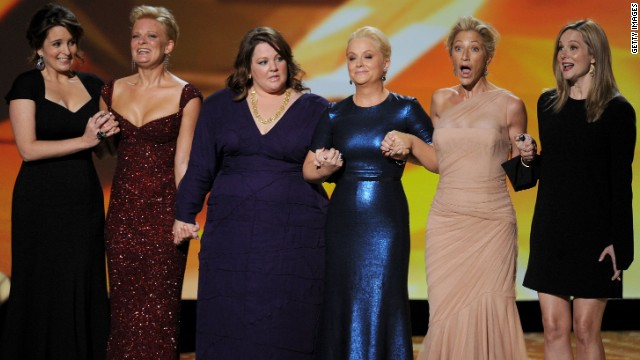 "The nominees for outstanding lead actress in a comedy series, (L-R) Fey, Martha Plimpton, Melissa McCarthy, Poehler, Edie Falco and Laura Linney, joined each other onstage at the 2011 Emmy Awards. ""Mike & Molly's"" McCarthy ended up winning the award."