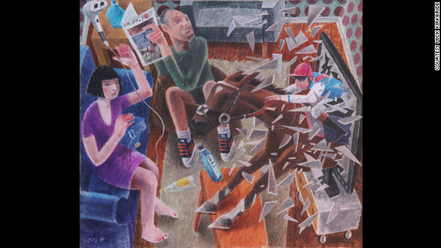 "Artist Michael Kirkbride's painting, ""Armchair Ride,"" was inspired by a poem about Frankel demolishing the field in last year's 2000 Guineas race."