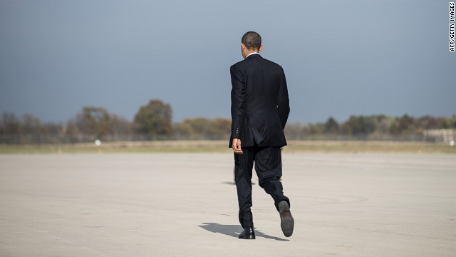 President Barack Obama arrives at Rickenbacker International Airport in Columbus, Ohio, for a campaign rally Wednesday.
