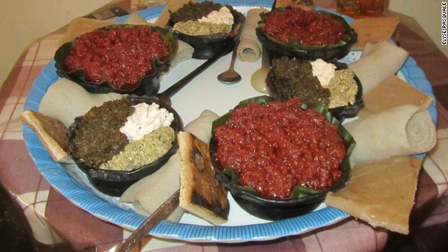 The Ethiopian speciality dish of kitfo (raw beef). Pasquale says learning about and trying local food can teach travelers a lot about the destinations they visit.