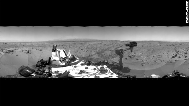This 360-degree panorama shows the area where the rover will spend about three weeks collecting scoopfuls of soil for examination. The photo comprises images taken from the rover's navigation camera on October 5.