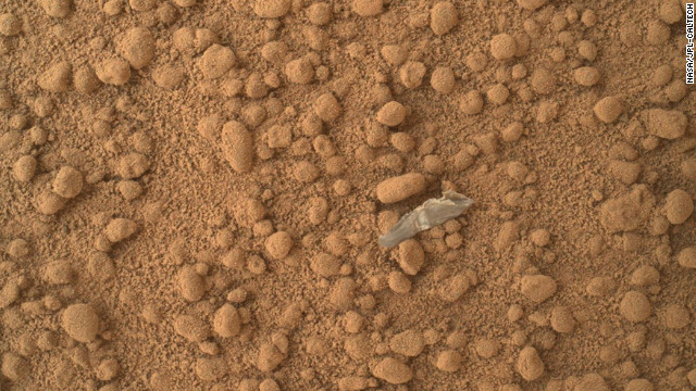 This image shows what the rover team has determined to be a piece of debris from the spacecraft, possibly shed during the landing. The image was taken on October 11.
