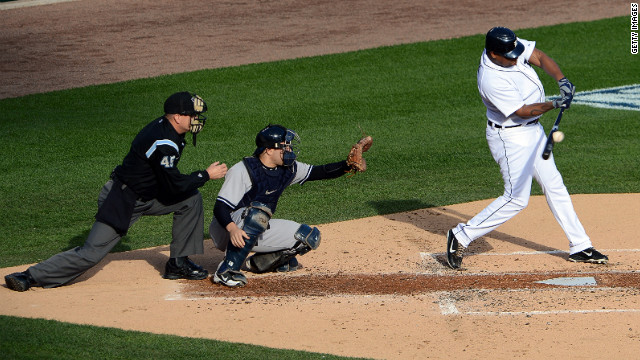 Young hits a RBI single in the first inning against the Yankees.