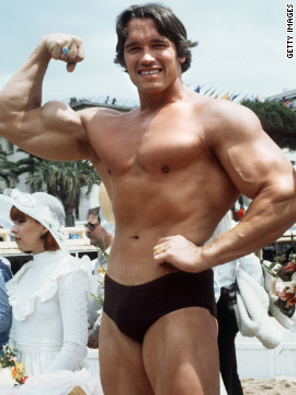 "Arnold Schwarzenegger wasn't always a politician. Here he poses during the 1977 Cannes Film Festival, where he presented ""Pumping Iron,"" a documentary about body building."