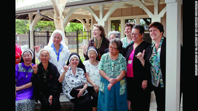 The Sisters of Saint Francis still minister to the sick and elderly in Hawaii. They run a hospice program, provide home health service and run adult day care programs. From left, Row 1: Sisters Ancilla Yim, Charlene Epil, Rose Fatima Leite, Frances Cabrini Morishige, Laurenza Fernandez, Agnelle Ching and William Marie Eleniki. From left, Row 2: Sisters Jovita Agustin, Norise Kaiser, Agatha Perreira and Pat Schofield.