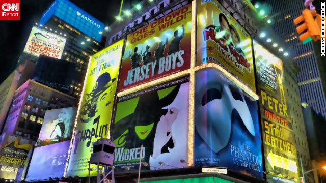There's no place quite like New York City for a musical theater lover. And for Montreal resident and iReporter Richard Theroux, he says there's nothing more exhilarating than catching a show in New York. &quot;Seeing all the musical theater posters was so impressive and vibrant. It was out of this world,&quot; he said. &quot;It was absolute magic.&quot; &lt;!-- --&gt;