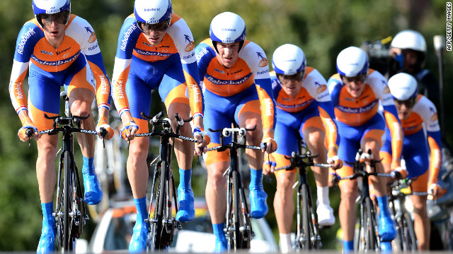 Netherlands' Rabobank cycling team rides during the UCI Road World Championships on September 16, 2012 in Valkenburg.