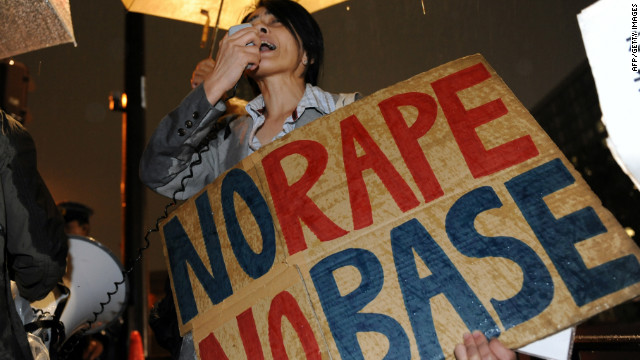 Civic groups protest the alleged rape.