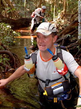 Competitors in Earth in the Jungle Marathon tackle 220km of inhospitable terrain in seven days, battling swamps, poisonous trees and intense heat in the Amazon. Athletes are self-supported to toughen the challenge. <br/><br/>