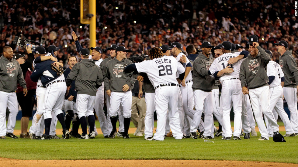 The Detroit Tigers celebrate after beating the New York Yankees 8-1 to win the American League Championship Series at Comerica Park on October 18, 2012, in Detroit, Michigan. <a href='http://www.cnn.com/2012/10/16/worldsport/gallery/alcs-game-3/index.html' target='_blank'>Look back at Game 3 of the ALCS.</a>