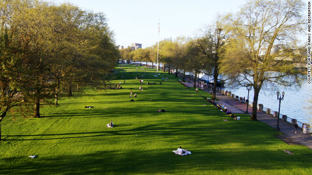 The central lawn area in the 30-acre Tom McCall Waterfront Park is a main attraction alongside its fountains, sculptures and connecting paths.