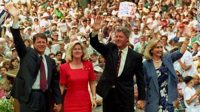 Al Gore, from left, his wife, Tipper, Bill Clinton and Hillary Clinton wave to supporters at the Chautauqua Institution in Chautauqua, New York, on August 23, 1992, after they gave speeches on family values.