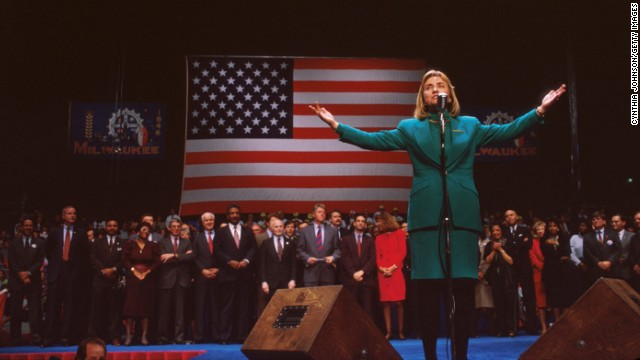 Clinton gestures at a campaign rally November 3, 1992, in Denver. After taking office, President Bill Clinton chose his wife to head a special commission on health care reform, the most significant public policy initiative of his first year in office.