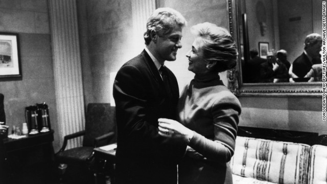 Bill and Hillary Clinton have a laugh together on Capitol Hill in 1993.