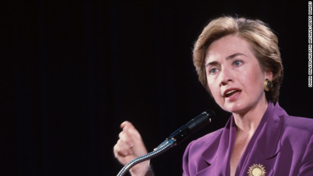 Clinton speaks at George Washington University on September 10, 1993, in Washington, during her husband's first term.