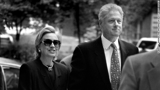 Hillary and Bill Clinton arrive at Foundry United Methodist Church on August 16, 1998, in Washington. He became the first sitting president to testify before a grand jury when he testified via satellite about the Monica Lewinsky matter.