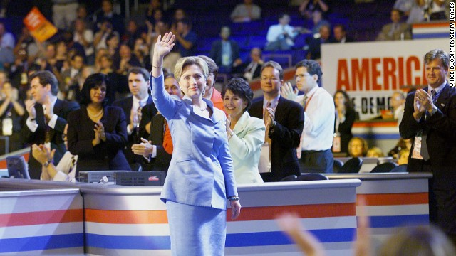 Clinton waves to the crowd as she arrives on the stage at the Democratic National Convention on August 14, 2000, at the Staples Center in Los Angeles.