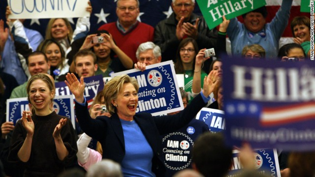 Clinton campaigns with her daughter, Chelsea, on January 1, 2008, in Council Bluffs, Iowa, two days ahead of the January 3 state caucus.