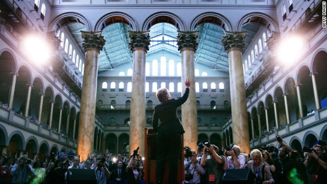 Clinton waves as she speaks to supporters at the National Building Museum on June 7, 2008, in Washington. After pulling out of the presidential race, Clinton thanked her supporters and urged them to back Barack Obama to be the next president of the United States.