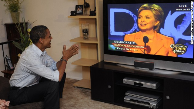 Obama watches Clinton address the Democratic National Convention on August 26, 2008. The two endured a long, heated contest for the 2008 nomination.