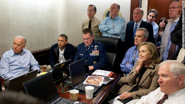 President Barack Obama, Vice President Joe Biden, Clinton and members of the national security team receive an update on the mission against Osama bin Laden in the Situation Room of the White House on May 1, 2011.