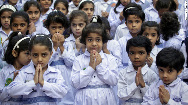 Students at the Sacred Heart Cathedral School in Lahore attend special prayers on Friday, October 19, for Malala's recovery. 