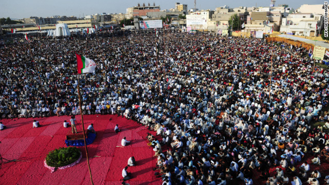 Supporters of a Pakistani political party, Muttahida Quami Movement, gather during a protest procession for Malala in Karachi, Pakistan, on Sunday.