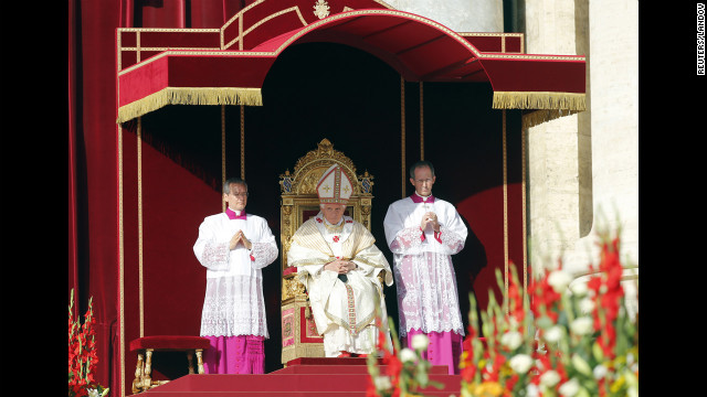 Pope Benedict XVI looks on at Sunday's special Mass.