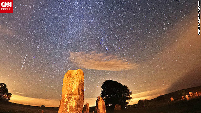 Renata Arpasova spent the early morning hours Sunday photographing the Orionid meteor shower from Wiltshire, England.